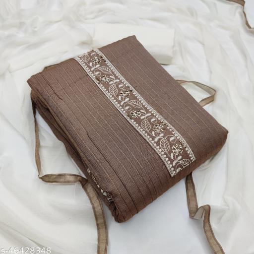 SAINOOR Women'S Grey Colour Straight Style Thread Dress Material (2 Mtr) - 11071C