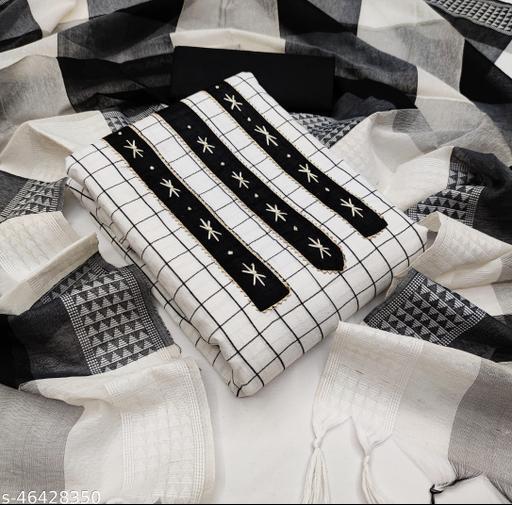 SAINOOR Women'S White Colour Straight Style Hand Work Dress Material (2 Mtr) - 11071A