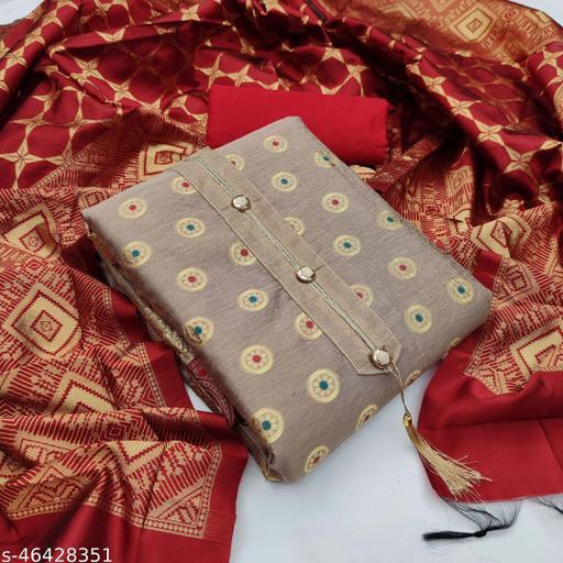 SAINOOR Women'S Beige Colour Straight Style Weaving Dress Material (2 Mtr) - 11071D