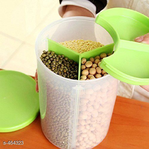 Useful  Storage Dispenser Container Jar 3 Section