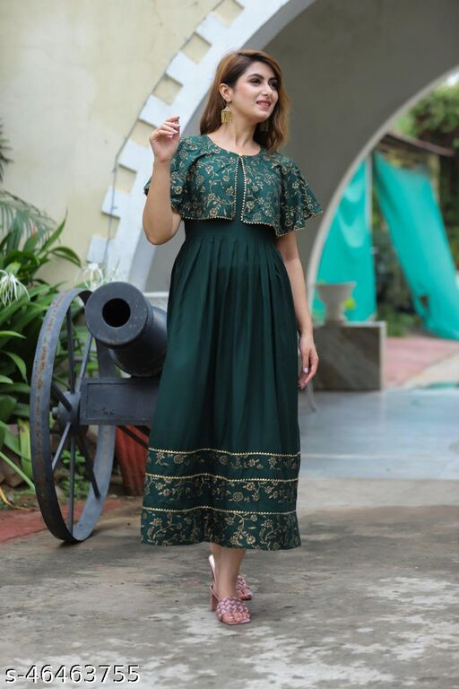 Women's Flared Floral Printed Gotta Lace Work Maxi Dress with Attached Cape Gown Kurti
