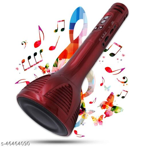 Superier Quality Karaoke Mic Wireless Bluetooth Microphone Connection Player Speaker 2-in1 With Recording + USB+FM (red colour)