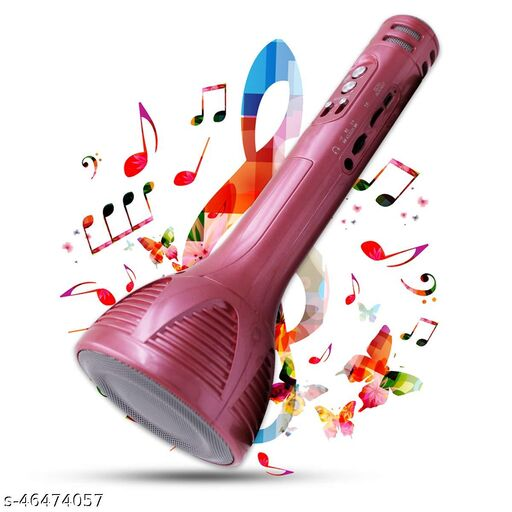 Superier Quality Karaoke Mic Wireless Bluetooth Microphone Connection Player Speaker 2-in1 With Recording + USB+FM (pink colour)