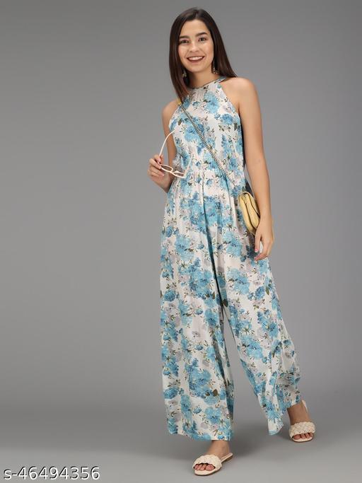 TRISLIN White & Blue Floral Printed Jumpsuit