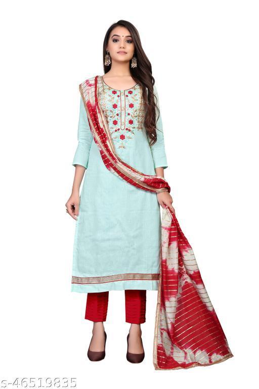 SAINOOR Women'S Light Pista Green Colour Straight Style Hand Work Dress Material (2 Mtr) - 11078A