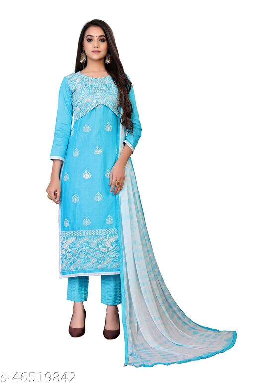 SAINOOR Women'S Sky Blue Colour Straight Style Embroidered Dress Material (2 Mtr) - 1709
