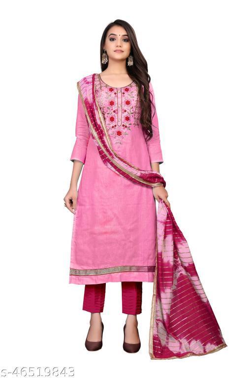 SAINOOR Women'S Light Pink Colour Straight Style Hand Work Dress Material (2 Mtr) - 11078D