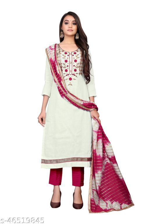 SAINOOR Women'S White Colour Straight Style Hand Work Dress Material (2 Mtr) - 11078C