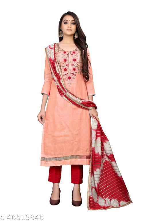 SAINOOR Women'S Light Peach Colour Straight Style Hand Work Dress Material (2 Mtr) - 11078B
