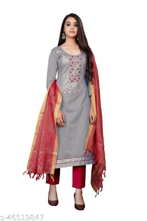SAINOOR Women'S Grey Colour Straight Style Hand Work Dress Material (2 Mtr) - 11053C