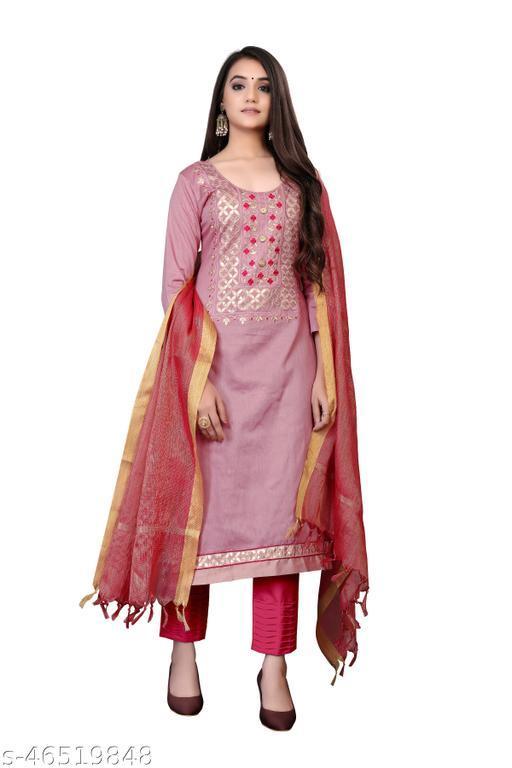 SAINOOR Women'S Pink Colour Straight Style Hand Work Dress Material (2 Mtr) - 11053B