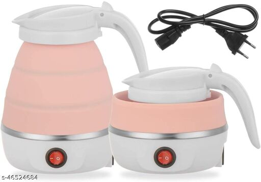 NILKANTH SOLUTIONS Foldable Electric Kettle Portable Silicone Collapsible Kettle 110-220V 600ML for Most Travel and Home & Office Use (Multi Color)