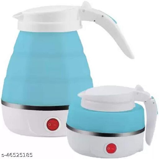 MANTRA ENTERPRISE Travel Foldable Fast Boiling Portable Electric Kettle - Silicone Food Grade Boil Dry Protection 220V -600ML for Most Travel and Home & Office Use (Blue/White/Pink)
