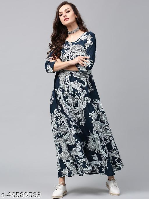 Indigo & White Printed Flared Maxi Dress