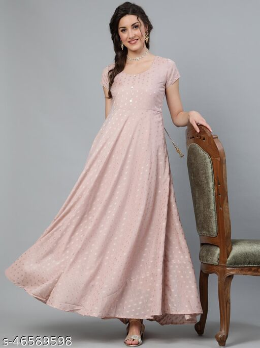 Brown Printed Box Pleated Maxi Dress