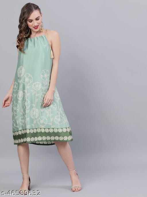 Green Gold Digital Printed Printed A-Line Dress