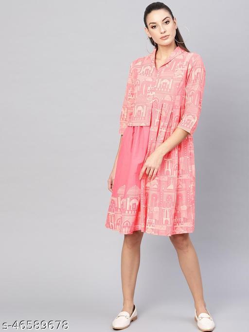 Pink Hawa Mahal Printed Short Dress