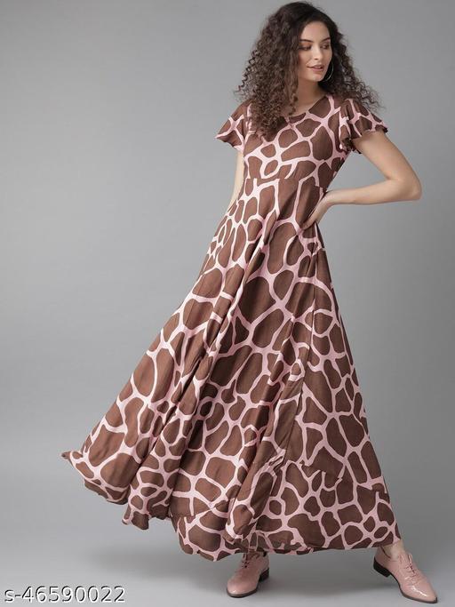 Brown And Pink Giraffe Print Maxi