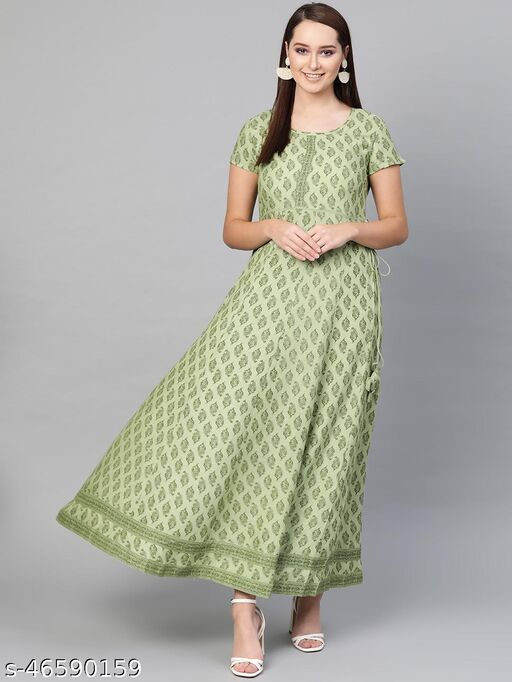 Mint Green Printed Panelled Maxi
