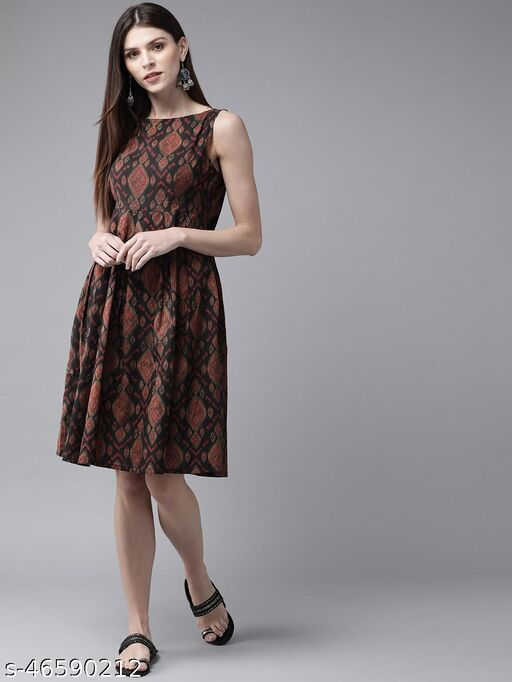 Black And Brown Pleated Dress