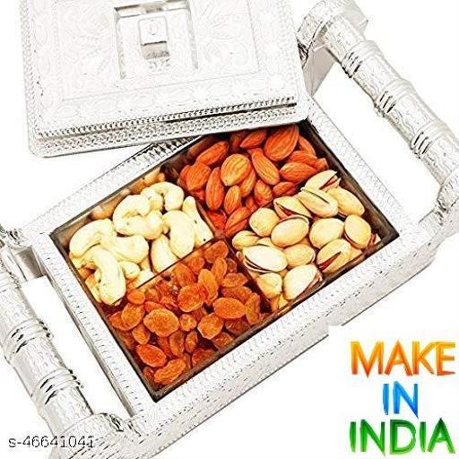 DEVCOMM Rajwadi Dry Fruit Box Mukhwas Serving Tray Seasoning Masala Box Air Tight Bowls Tray with Lids Traditional Designer Platter Mukhwas Dani