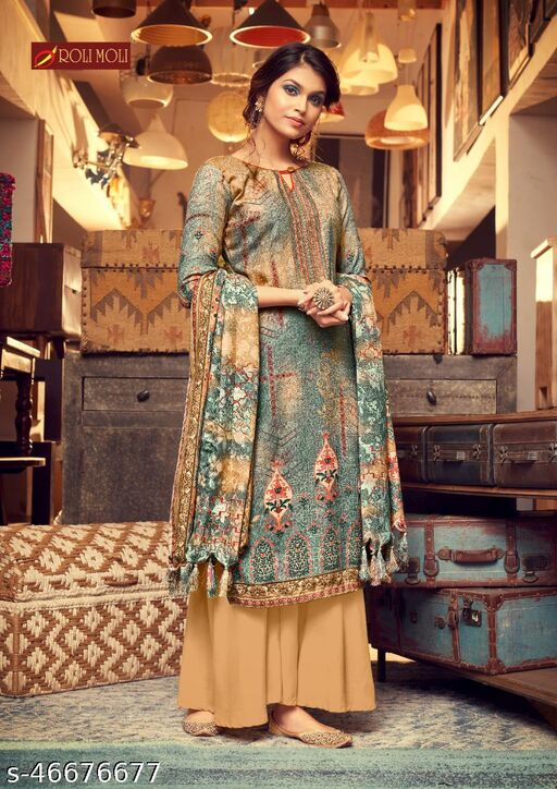 Pashmina Woolen  Designer Printed Suit With Full Size Shawl
