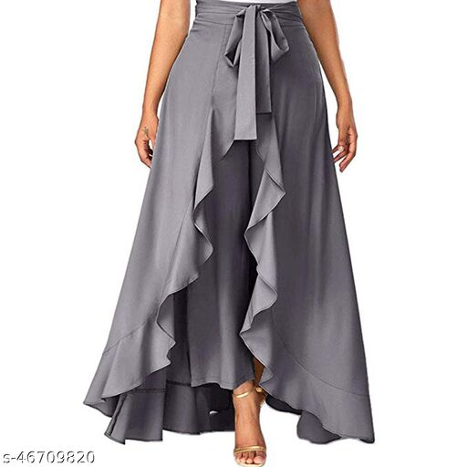 PSK Exports Women's Solid Heavy Crepe Layered / Ruffle Low-Rise Plazzos with One Waist Tie Band