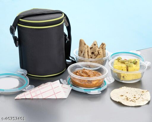 Glass Lunch Box Set of 3, 320 ml, Microwave Safe Office Tiffin