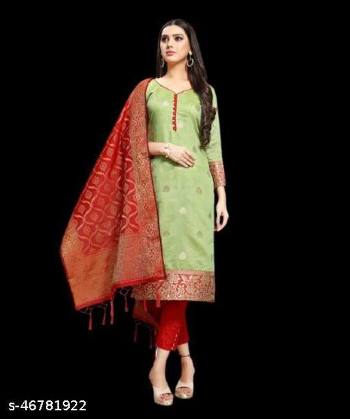 Ethnic art present's Un-stitched beautyful & latest design Chanderi Silk Salwar&Suit With Jacquard Dupatta