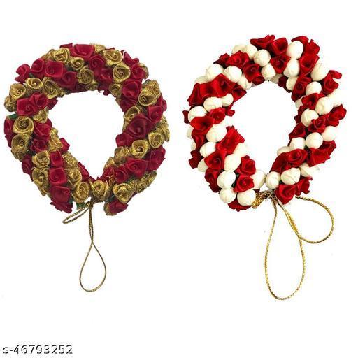 Maahal Hair Mogra Gajra Combo Designer Mogra Red for party and Bridal Hair Gajra Bun For Women & Girls, Multicolor, Pack of 2