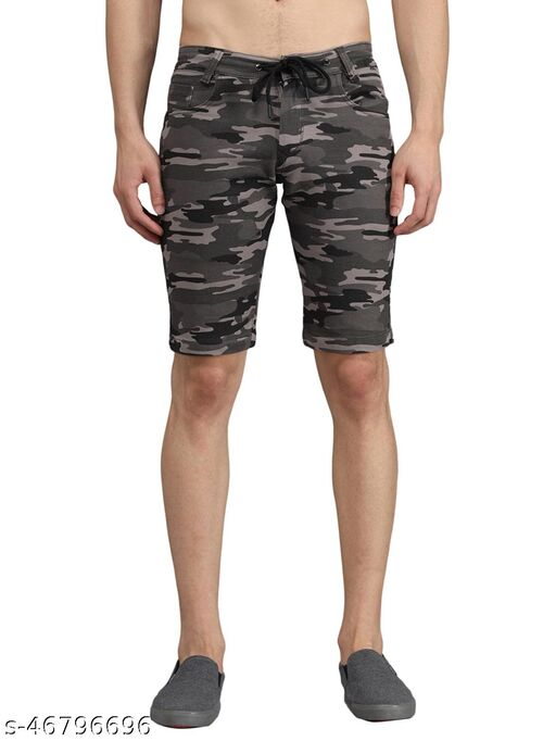 Boyd Jeans Men's Pure Cotton Knee Length Camouflage Shorts - Grey