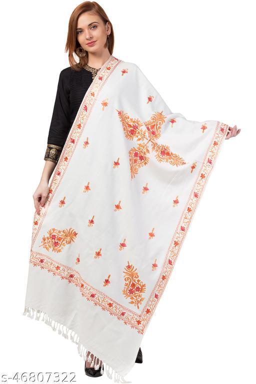 Fancy Aari Work Wool Blend Off-White Stole for Ladies/Girls