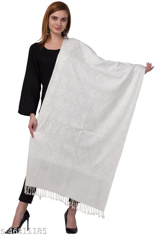 Designer Elegant Woolen Embroidered White Stole for Women / Ladies/ Girls for Winters