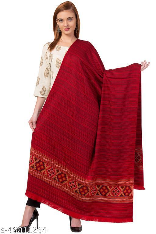 Traditional Designer Blended Wool Red Kullu Shawl for Women