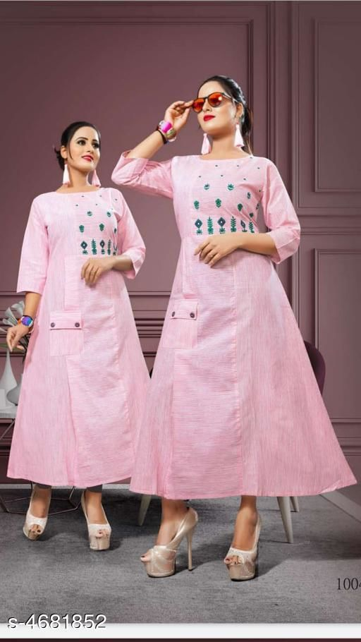 Women's Embroidered Cotton Linen Kurti