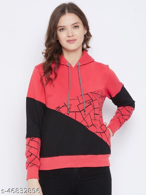 First Krush Women's Fleece Red Full Sleeves Colorblocked Hooded Sweatshirt