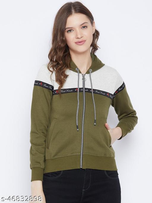 First Krush Women's Fleece Olive Full Sleeves Colorblocked Hooded Sweatshirt