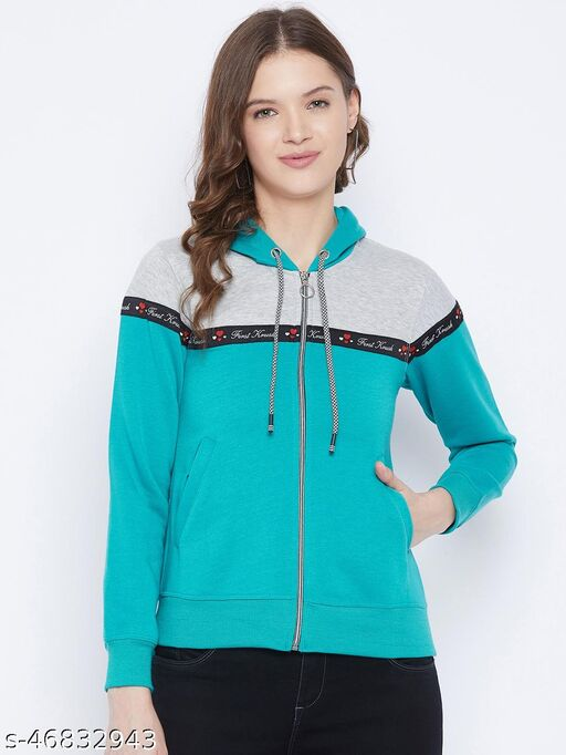 First Krush Women's Fleece Teal Full Sleeves Colorblocked Hooded Sweatshirt