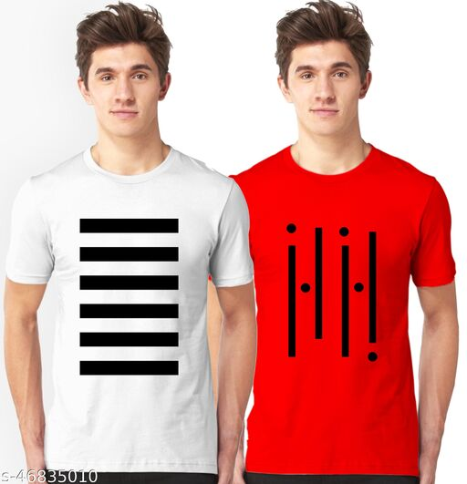 Tween Trends Men's Printed Round neck Casual T-shirts(Pack of 2)