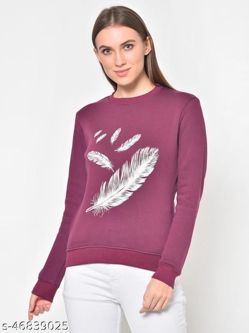 Hapuka Women's Printed  Wine Fleece  Sweat Shirt