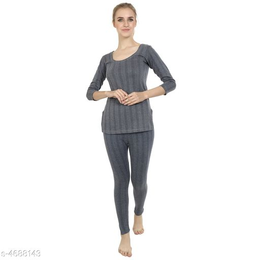 Thermal Tops Attractive Trendy Cotton Women's Thermal Tops & Bottom Sets   *Fabric* Cotton  *Sleeves* Full Sleeves Are Included  *Size* Top - S - 30 in,  M - 32 in, L - 34 in, XL - 36 in, XXL - 38 in, 3XL - 40 in, Bottom - S - 28 in, M - 30 in, L - 32 in, XL - 34 in, XXL - 36 in, 3XL - 38 in  *Length* Top - Up To 20 in, Bottom - Up To 40 in  *Type* Stitched  *Description* It Has 1 Piece Of Thermal Tops & 1 Pieces Of Bottoms  *Pattern* Solid  *Sizes Available* S, M, L, XL, XXL, XXXL *   Catalog Rating: ★3.8 (29)  Catalog Name: Attractive Trendy Cotton Women's Thermal Tops & Bottom Sets Vol 3 CatalogID_680740 C76-SC1056 Code: 255-4688143-