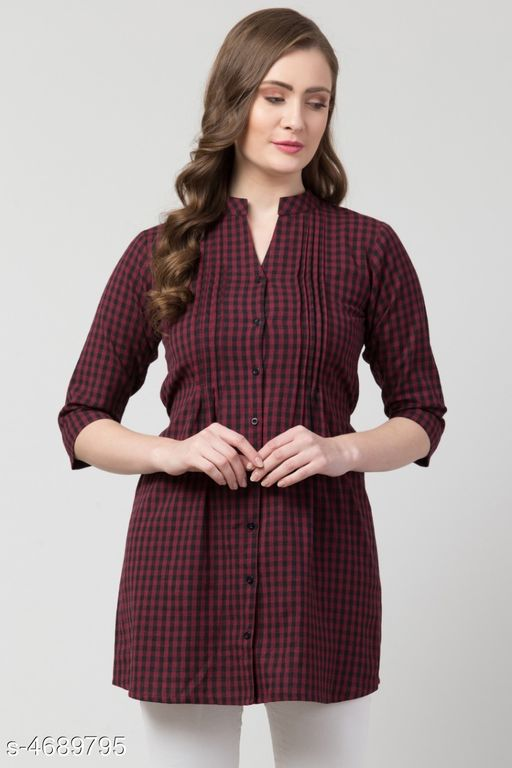 Women's Checked Maroon Cotton Top