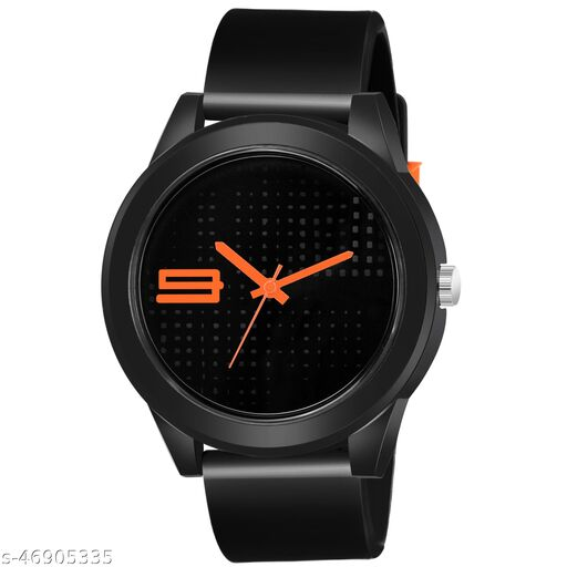 KBL Black Rubber Belt with Orange Number Unique Dial Analogue Watch for Boy's and Men's