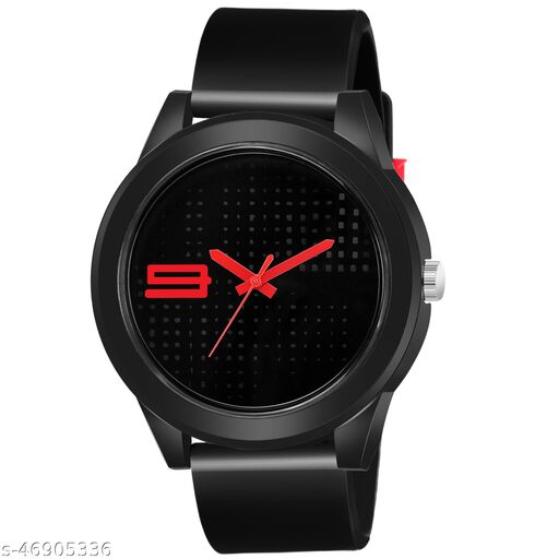 KBL Black Rubber Belt with Red Number Unique Dial Analogue Watch for Boy's and Men's