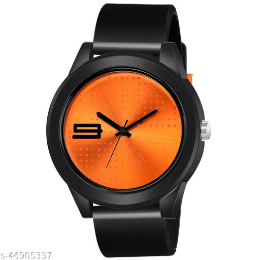 KBL Black Rubber Belt with Orange Unique Dial Analogue Watch for Boy's and Men's