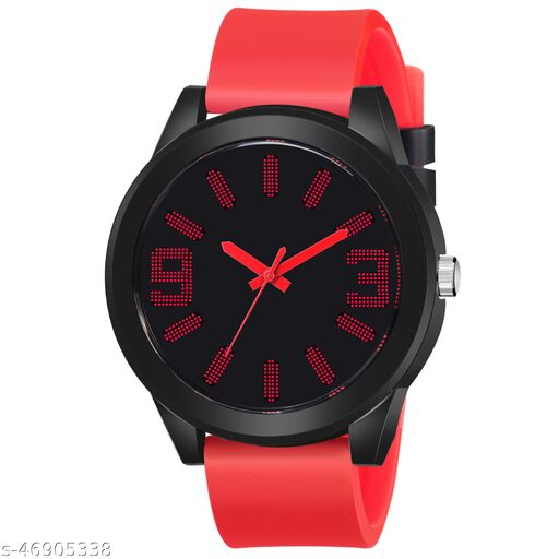 KBL Red Rubber Belt with Unique Black Dial Analogue Watch for Boy's and Men's