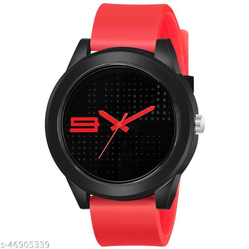 KBL Red Rubber Belt with Black Unique Dial Analogue Watch for Boy's and Men's