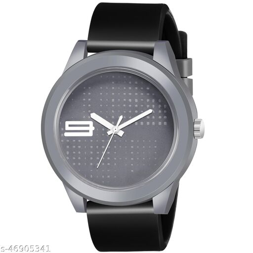 KBL Black Rubber Belt with Grey Unique Dial Analogue Watch for Boy's and Men's