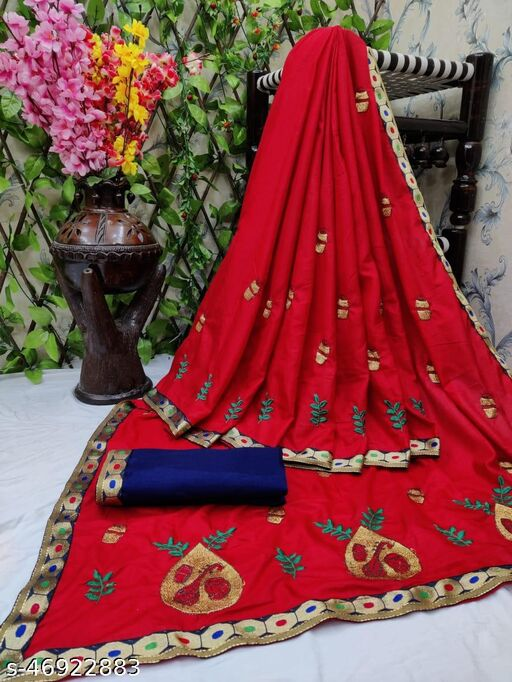 BEAUTIFUL DOLA SILK WITH EMBRIODERY WORK AND LACE ALONG WITH BANGLORI SILK BLOUSE