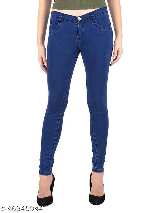 Plus Size, Fabulous Navy Blue Women Jeans Stretchable